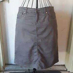 🐶christopher & banks Petite Gray Denim Skirt 14P
